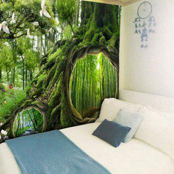Wall Hanging Forest Life Tree Pattern Tapestry - GREEN W79 INCH * L59 INCH