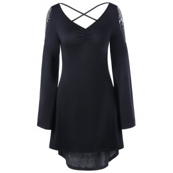 Openwork Long Sleeve High Low Dress - BLACK M