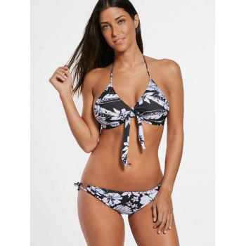 Halter Floral Bikini with Mesh Cover-Up - Noir L