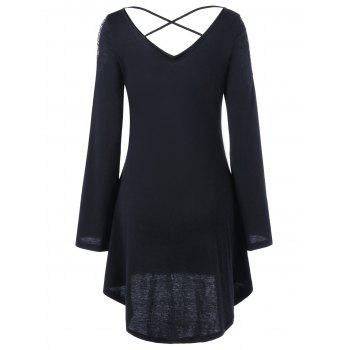 Openwork Long Sleeve High Low Dress - BLACK BLACK
