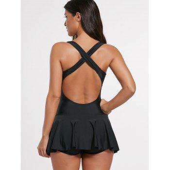 Criss Cross Skirted Backless Swimsuit - L L