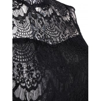 Sleeveless Backless Half Sheer Nightclub Lace Dress - BLACK S