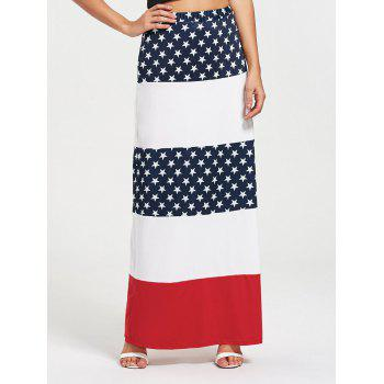 Stars and Stripes Maxi Straight Skirt - COLORMIX S