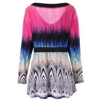 Plus Size Geometric Print Ombre Panel T-shirt - COLORMIX XL