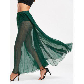 See Through High Waist Chiffon Maxi Skirt