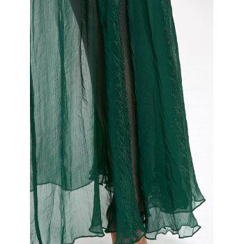 See Through High Waist Chiffon Maxi Skirt - GREEN S