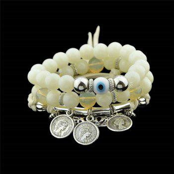 Eye Coin Beaded Charm Bracelet Set - WHITE WHITE