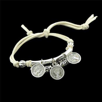 Eye Coin Beaded Charm Bracelet Set -  WHITE