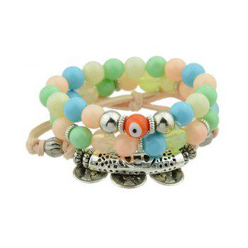 Eye Coin Beaded Charm Bracelet Set - COLORMIX COLORMIX