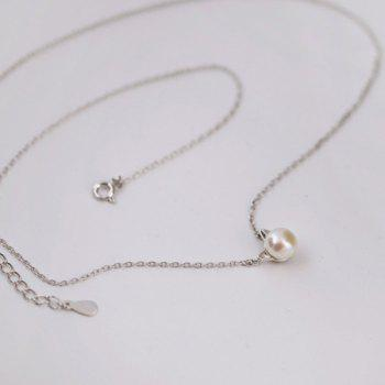 Faux Pearl Kitten Charm Tiny Necklace - SILVER