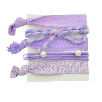 Faux Pearl Bowknot Elastic Hair Band Set