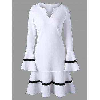 Split-Neck Flare Sleeve Dress - WHITE XL