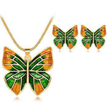 Enamel Plating Butterfly Pendant Necklace Set