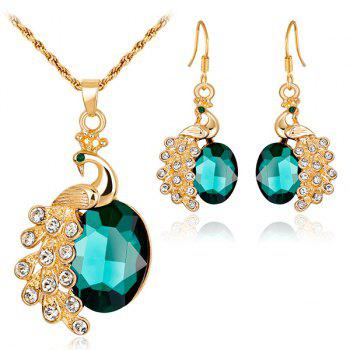 Peacock Faux Gem Rhinestone Necklace and Earrings