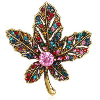 Vintage Maple Leaf Multicolor Rhinestone Brooch