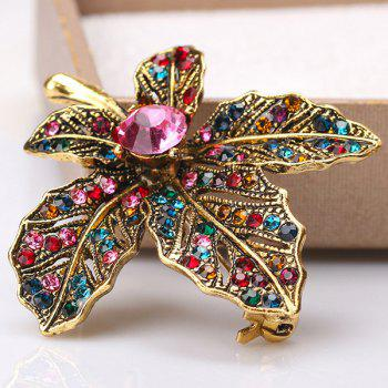 Vintage Maple Leaf Multicolor Rhinestone Brooch - GOLDEN