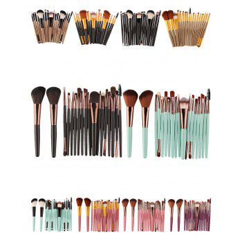 18Pcs Multipurpose Facial Makeup Brushes Set -  BLACK BROWN