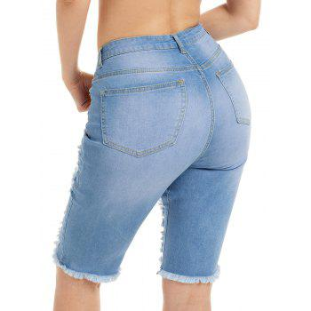Knee Length Ripped Jean Shotrs - S S