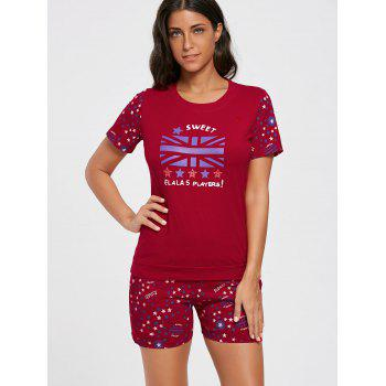 Stars Print Cotton Sleepwear Set - L L