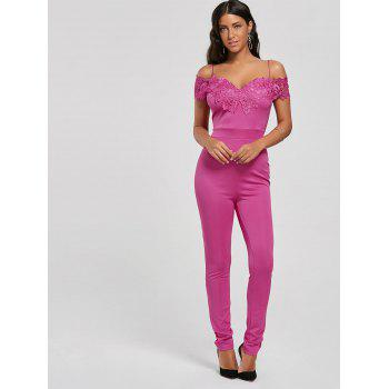 Lace Applique Low Cut Cold Shoulder Jumpsuit - TUTTI FRUTTI S