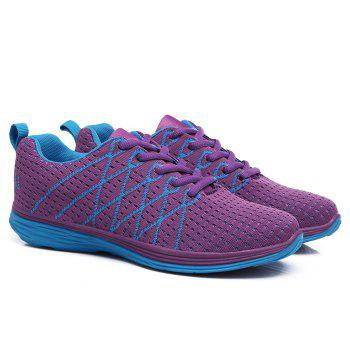 Geometric Pattern Colour Block Breathable Athletic Shoes