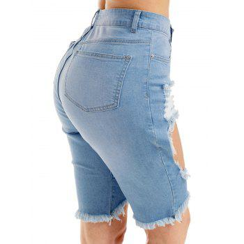 Denim High Waist Ripped Bermuda Shorts - Bleu XL
