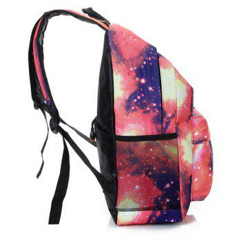 Padded Strap Galaxy Printed Backpack - PINK