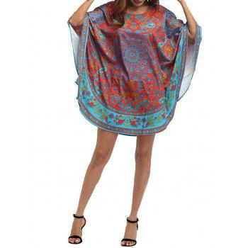 Retro Tribal Print Batwing Sleeve Mini Dress - COLORMIX ONE SIZE