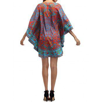 Retro Tribal Print Batwing Sleeve Mini Dress - ONE SIZE ONE SIZE