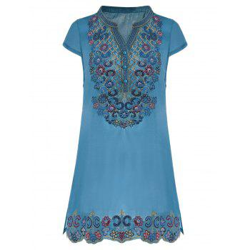Sequin Embroidered Plus Size Tunic Top - BLUE BLUE