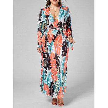 Plunging Neck Palm Leaf Print Plus Size Dress