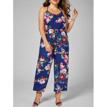 Floral Chiffon Plus Size Jumpsuit - BLUE 3XL