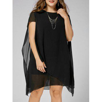Chiffon Asymmetric Plus Size Cape Dress