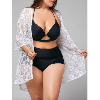 Plus Size Lace Sheer Kimono Cover-up