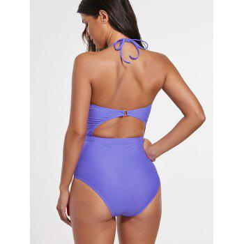 Halter Cut Out Backless Swimsuit - M M