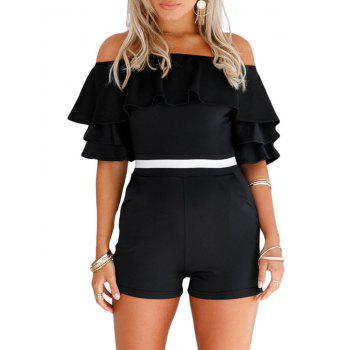 Ruffle Off The Shoulder Romper - BLACK S