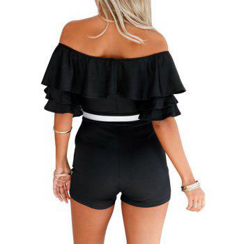Ruffle Off The Shoulder Romper - BLACK M