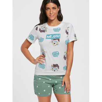 Cotton Printed Pajamas Set - M M