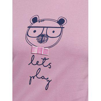 Cotton Print T-shirt Sleepwear Set - PINK PINK