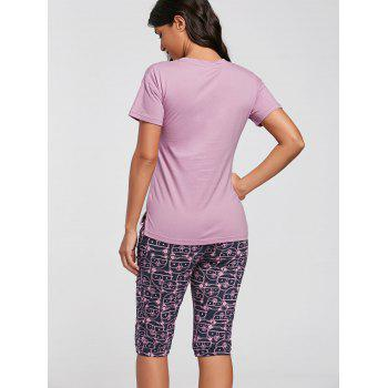 T-shirt imprimé en coton Ensemble pyjamas - ROSE PÂLE 2XL