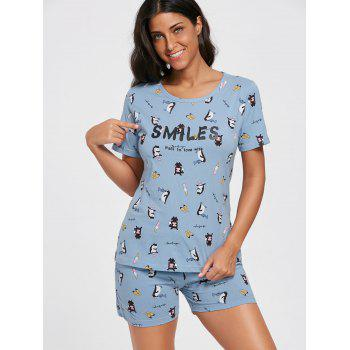 Cotton Print Pajama T-shirt and Shorts - 2XL 2XL