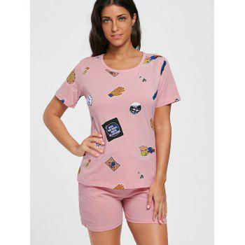 T-shirt Cotton Print Pajamas Set - PINK PINK