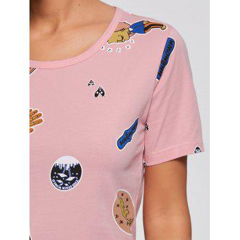 T-shirt Ensemble pyjamas en coton imprimé - ROSE PÂLE 2XL