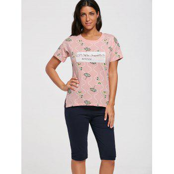 Cotton Print Tee Pajamas Set - M M