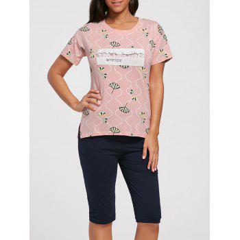 Cotton Print Tee Pajamas Set - LIGHT PINK M