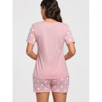 Polka Dot Print Pyjamas en coton Set - Rose Clair M