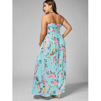Floral Floor Length Plus Size Strapless Dress - multicolor 5XL