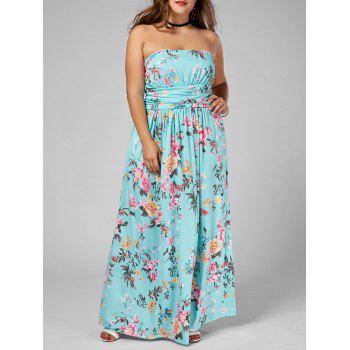 Floral Floor Length Plus Size Strapless Dress