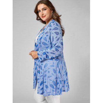 Feather Print Open Front Plus Size Longline Coat - Nuageux 2XL