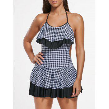 Houndstooth Flounce Skirted Swimsuit - WHITE AND BLACK L